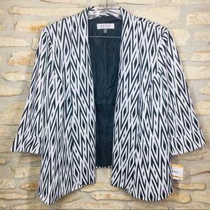 24W Kasper Blazer Jacket Coat Black White Plus Sz